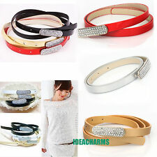 Multi-colored PU Leather Belt Buckles Waistband Belt with Shiny rhinestone