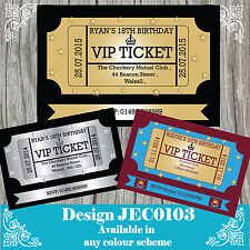 Personalised Birthday Invitations VIP PARTY TICKET any age 18th,21st,30th