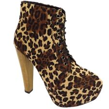 LADIES LEOPARD PRINT LACE-UP PLATFORM HIGH BLOCK-HEEL ANKLE BOOTS SHOES SIZE 3-8