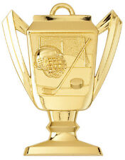"2-3/4"" Trophy Shape Hockey Medal w/Ribbon Any Qty Ships Flat Rate $5.49 in USA"