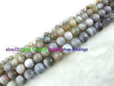 Round Faceted Grey Stirp Agate Loose Beads 15''