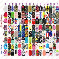 FULL NAIL WRAPS FOILS STICKERS - Art Decals Glitter Foil Transfers Designs - NEW