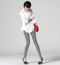 Vertical Stripes Striped Slim Ankle Length Footless Pantyhose Tights  Pant