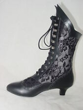 Victorian Gothic Steampunk style lace insert granny boots sizes 6-12  ~~NEW~~