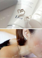 1 Pair Heart Love Full Crystal Rhinestone Silver Gold Plated  Earrings Ear Studs