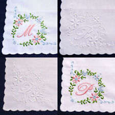 Vintage Style Initial Name White Pink Cotton Handkerchief Hanky Embroidered NEW