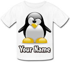 PENGUIN CUTE PERSONALISED KIDS T-SHIRT - GIFT FOR ANY CHILD & NAMED TOO