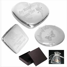 Engraved Compact Handbag Mirror Personalised Valentines Day Gift C1