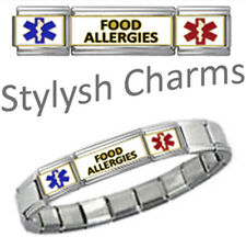 FOOD ALLERGIES MEDICAL ID 9mm + Italian Charm SILVER TONE SHINY Starter Bracelet