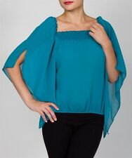 NEW TEAL or BURGUNDY See-Thru~FLUTTER SLEEVE~On OFF-SHOULDER PEASANT TOP~S/M/L~