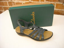 Clarks BLUE Leather Ina Embrace Ankle Strap SANDAL  NEW