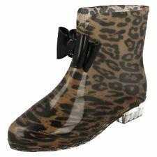 Ladies leopard synthetic wellies X1184