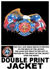 FIREMEN FIRE FIGHTER RESCUE EAGLE RED OR BLUE SHIELD FLAME SLEEVES OPTION JACKET