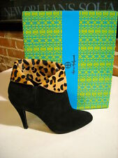 Hot in Hollywood Black Suede Leopard Cuff Boots