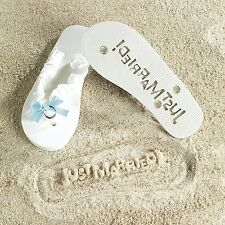 Just Married White Bride Flip Flops Something Blue Wedding Bridal Shower Gift