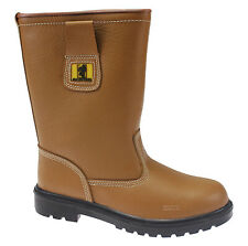 MENS LEATHER SAFETY STEEL TOE CAP RIGGER BOOTS WORK SHOES TRAINERS SIZE 6-12UK