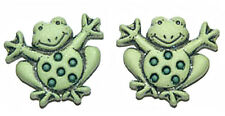 SPOTTED FROG STUD or CLIP ON EARRINGS (S284)