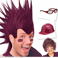 BURGUNDY Team Colour Sports Hats Wigs Glasses Fancy Dress Party 1 Listing PS