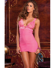 RENE ROFE RUCHED MESH & LACE CHEMISE WITH G-STRING SET Size S/M-M/L