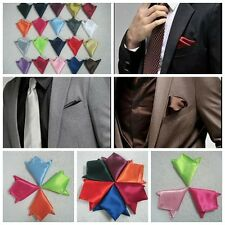 Mens Satin Solid Plain Color Handkerchief Hanky Pocket Square Wedding Suit Party