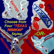 TEXAS RIBBON Patriotic Western Crystal State Cowgirl 4th  American USA Jewelry
