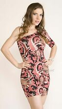 Puff One Shoulder short SLV Fitted Evening Floral Baroque Clubbing MINI Dress