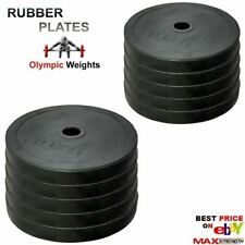 """Weightlifting 2"""" Rubber Bumper Olympic Disc Weights Plates Powerlifting Bar Gym"""