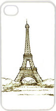 Sketched Green Paris Eiffel Tower Design on iPhone 4 4s Case Cover