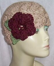 New Womens Vintage Style Cloche Hat Cotton Flapper 20s Organic NWT