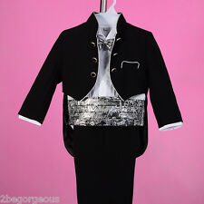 5pc Set Formal Suit Outfit Christening Wedding Tuxedo Page Boy Age 9m-3y ST028A