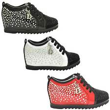 NEW SPRING KIDS GIRLS GEMS LACES HIDDEN WEDGE INFANT PUMPS TRAINERS SHOES SZ 8-2