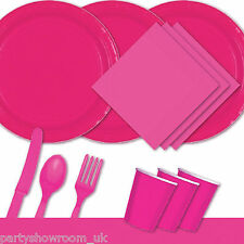 Magenta Pink Tableware Party Table Cover Napkins Cups Cutlery Plates PS