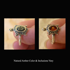BALTIC GREEN or HONEY AMBER & STERLING SILVER TURTLE PETITE RING SMALL SIZES