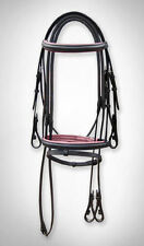 LEATHER HORSE BRIDLE PADDED IN BLACK & PINK , RUBBER GRIP REIN IN FULL,COB,PONY