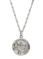 STERLING SILVER CHICAGO THE WINDY CITY CHARM WITH THIN SINGAPORE NECKLACE