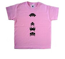 Space Invaders Retro Gaming Pink Kids T-Shirt