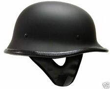 German Matte / Flat BLACK Motorcycle Half Helmet Chopper Biker DOT ~S, M, L, XL