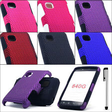 For LG 840G Tracfone Apex Perforated 2pc Hard Cover Phone Case + Free Stylus Pen