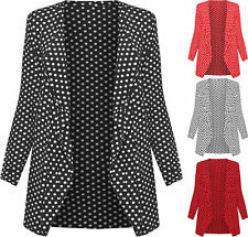 New Womens Plus Size Polka Dot Long Sleeve Ladies Spot Print Cardigan Top 14-28