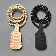 GOOD QUALITY HIP HOP MICROPHONE MIC PENDANT  WOOD ROSARY BEAD CHAIN NECKLACE 35""