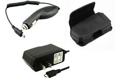 AC Travel Home Wall + Car Charger + Leather Case Pouch for Straight Talk Phones