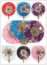 Pretty Chinese Traditional Hand Silk Bamboo Round Folding Floral Diy Art Crafts