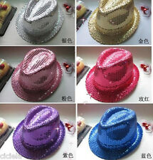 New Fashion Kids Adult Unisex Glitter Sequins Hat Dance Show Party Jazz Hat Cap