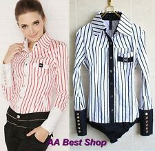 Classic Fashion Striped Long Sleeved  Bodysuit Blouse Top-S M