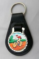 CYCLING CYCLIST LEATHER KEY FOB Keyring Gift Choice of Colours NEW
