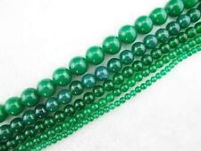Smooth Round Green Jade Loose Beads 15''