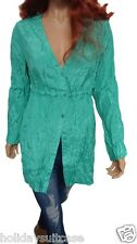 Size 12-18 UK Ladies womans summer evening jade green crinkle long top tunic