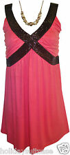 NEW LADIES WOMANS PARTY EVENING HOLIDAY TOP PLUS SIZE 18 TO 24 UK PINK/BLACK