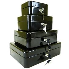 NEW BLACK STEEL PETTY CASH BOX MONEY HOLDER SECURITY SAFE WITH KEYS & TRAY