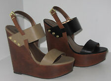 Ankle Strap Wedge Wooden Black Stone Soda Chef Womens Shoes PU-Leather Open Toe